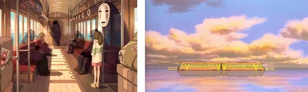 カオナシと電車のシーン