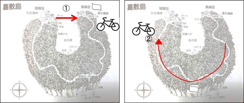犯人の移動経路の図