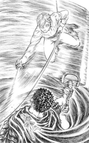ガッツとセルピコの戦いの図